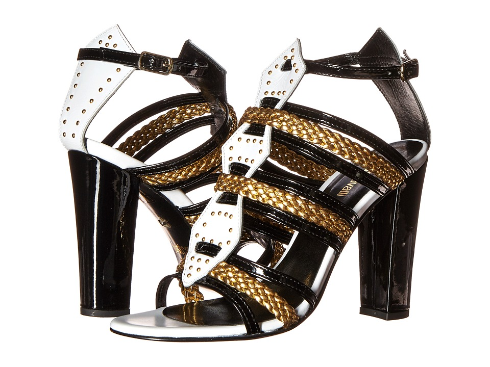 Just Cavalli Calf and Patent Leather with Laminated Leather Off White High Heels