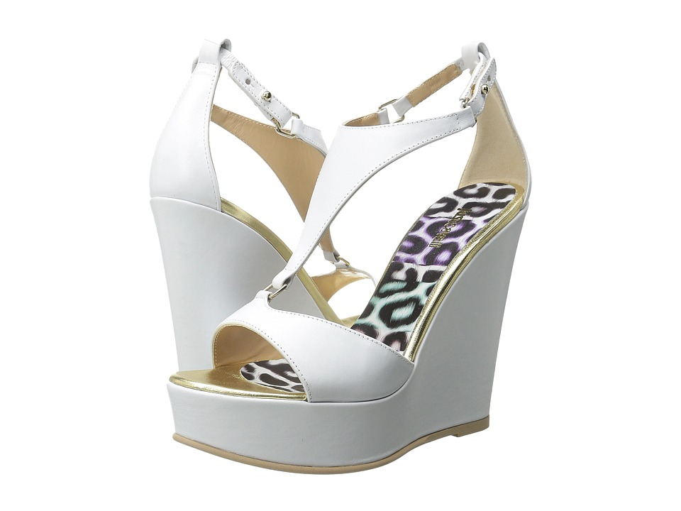 Just Cavalli Calf Leather Off White Womens Wedge Shoes