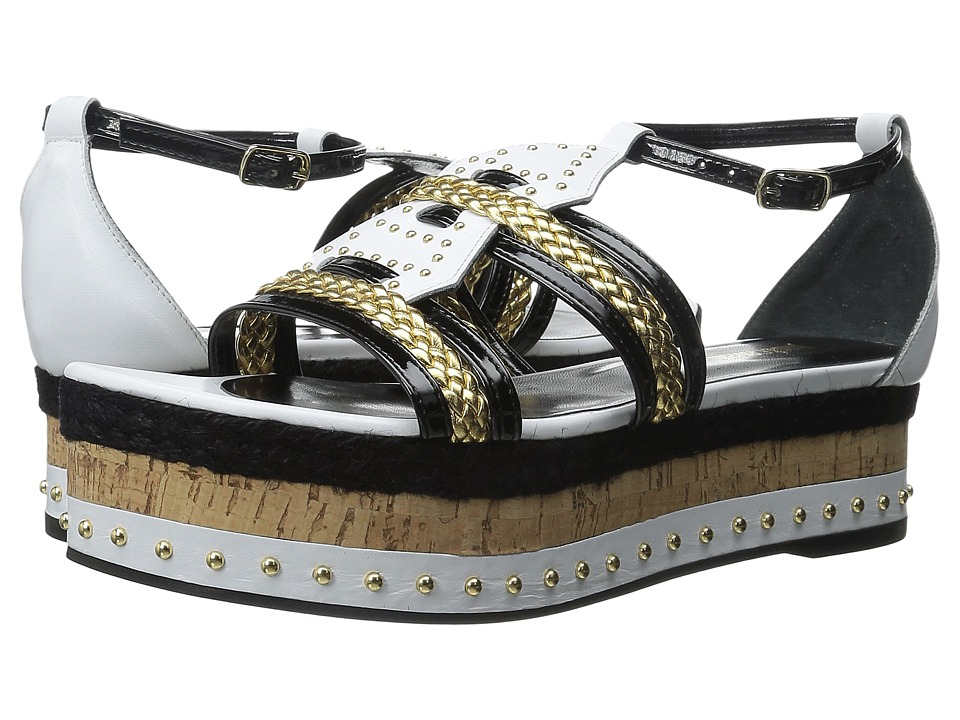 Just Cavalli Calf and Patent Leather with Rope and Cork Off White Womens Sandals