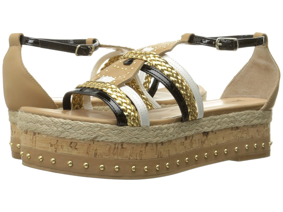 Just Cavalli Calf and Patent Leather with Rope and Cork Sand Womens Sandals
