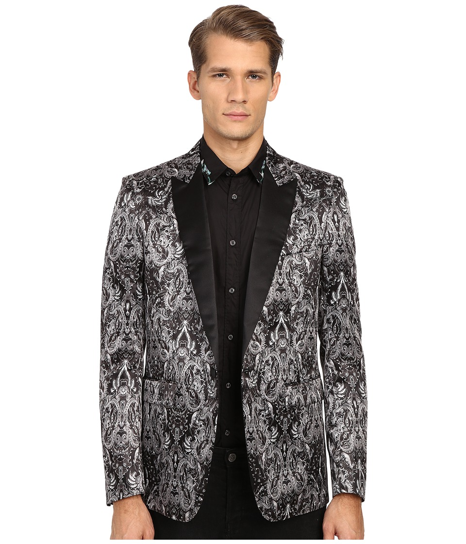 Just Cavalli Royal Batik Print Satin Dinner Jacket Black Mens Jacket
