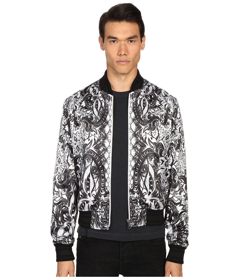Just Cavalli Royal Batik Bomber Jacket White Mens Coat