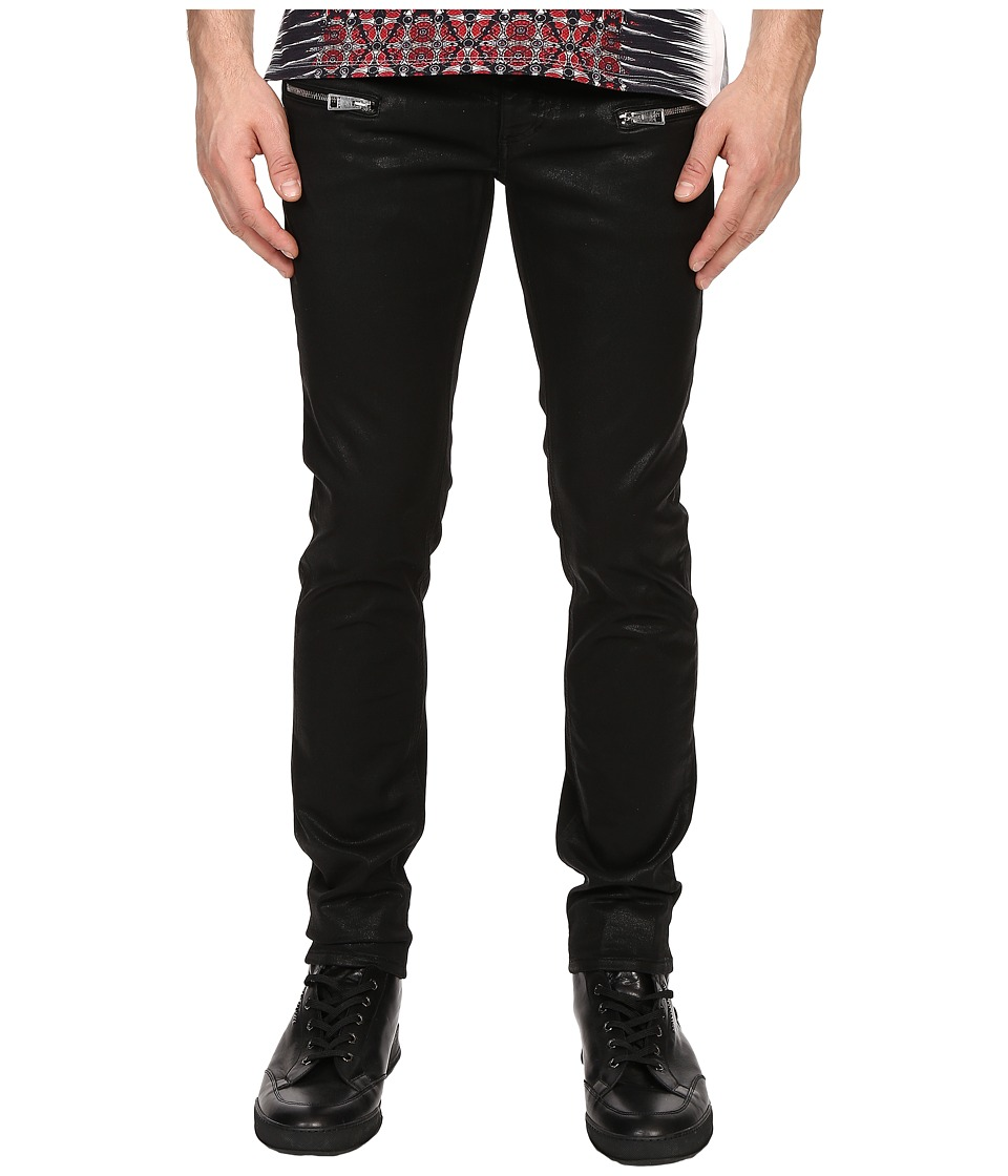 Just Cavalli Coated Leather Effect Denim Black Mens Jeans