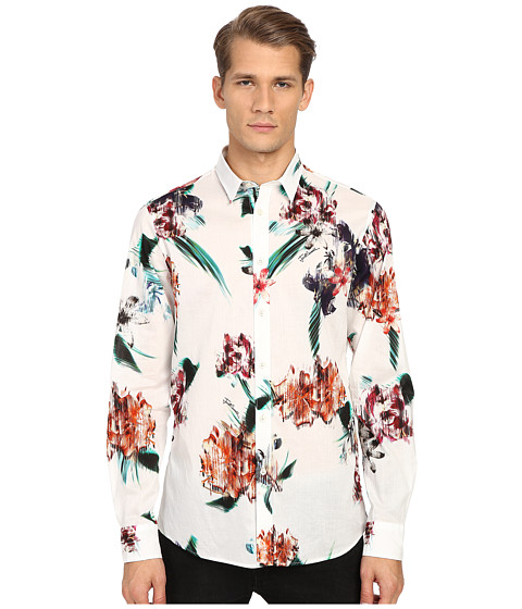 Just Cavalli Tropical Ikat Print Long Sleeve Woven