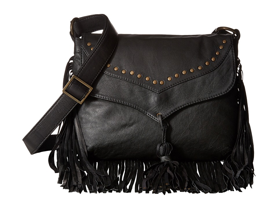 Scully Aurore Leather Fringe Bag Black Bags