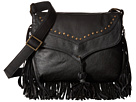 Scully Aurore Leather Fringe Bag (Black)