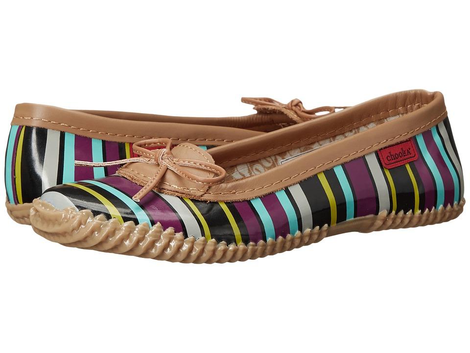 Chooka Striped Duck Skimmer Grape Womens Flat Shoes