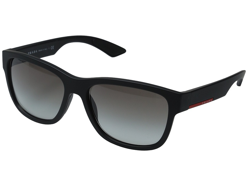 Prada Linea Rossa 0PS 03QS Black Rubber/Grey Gradient Fashion Sunglasses
