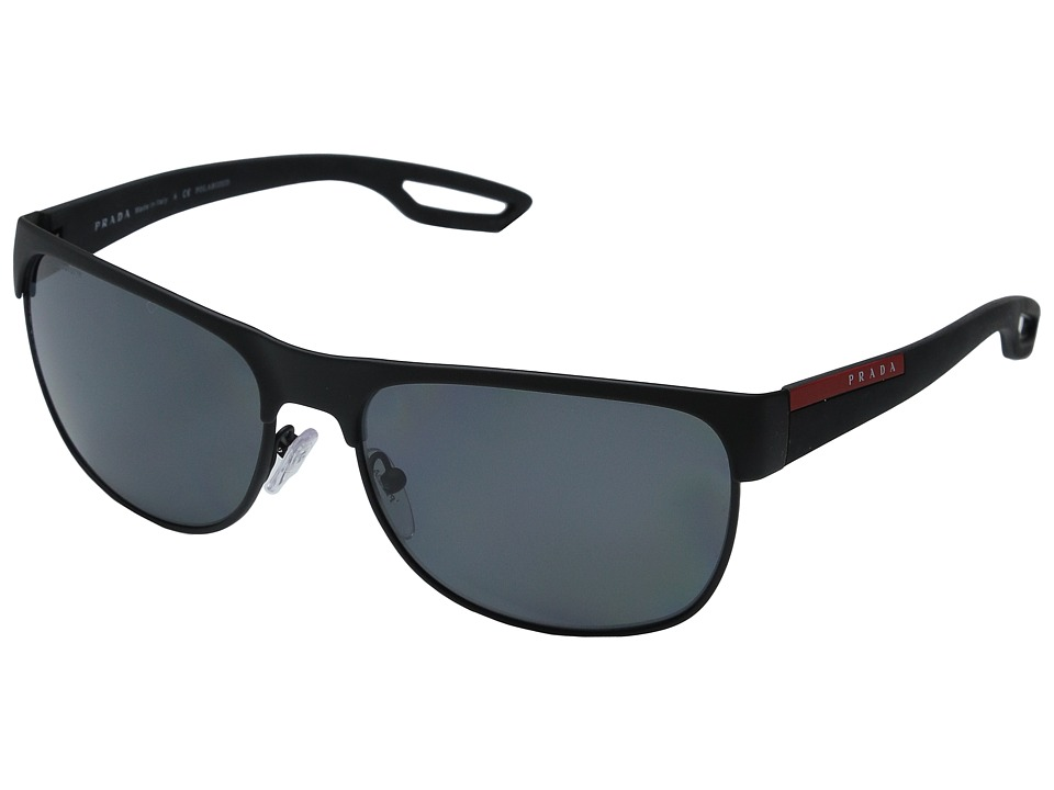 Prada Linea Rossa 0PS 57QS Black Rubber/Polarized Grey Fashion Sunglasses