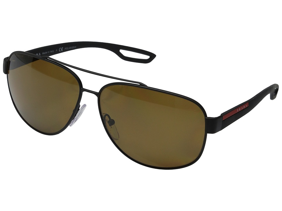 Prada Linea Rossa 0PS 58QS Black Rubber/Polarized Brown Fashion Sunglasses