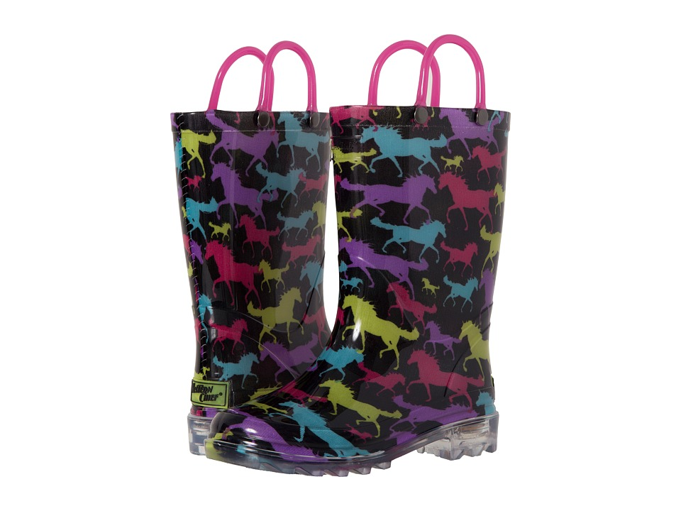 Western Chief Kids Horse Dreams Lighted Rain Boot Toddler/Little Kid Black Girls Shoes