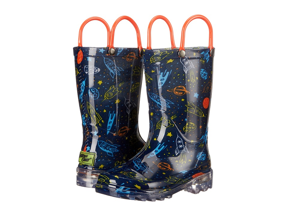Western Chief Kids - Rocket Ships Lighted Rain Boot(Toddler/Little Kid) (Navy) Boys Shoes