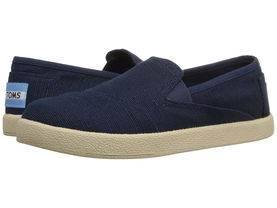 TOMS Kids Avalon Slip On Little Kid/Big Kid Navy Burlap Kids Shoes