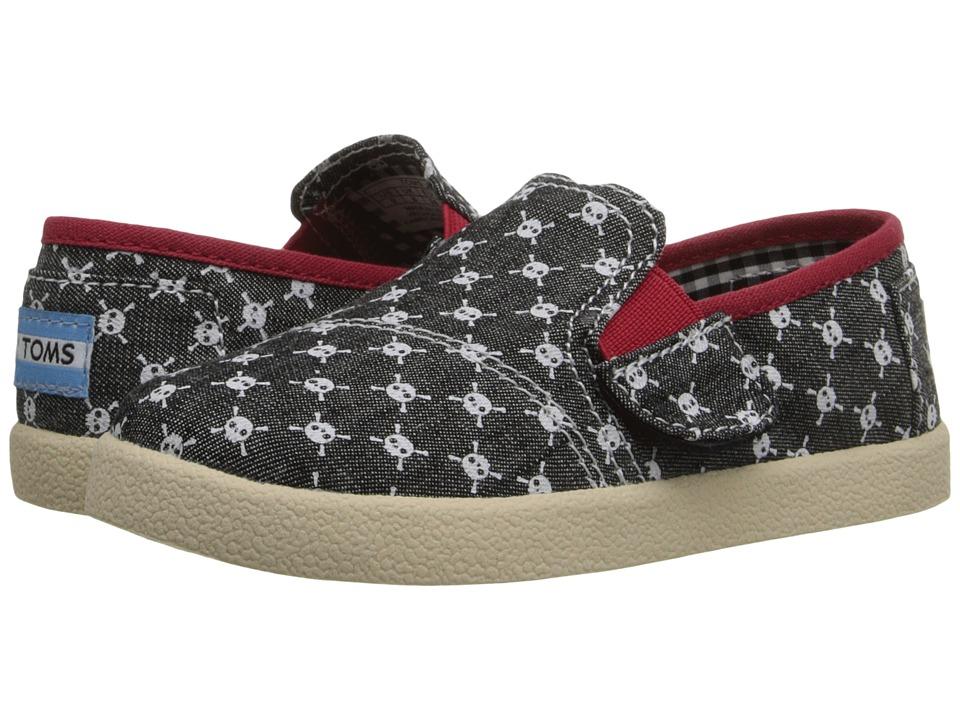 TOMS Kids Avalon Slip On Infant/Toddler/Little Kid Black Chambray Skulls Kids Shoes