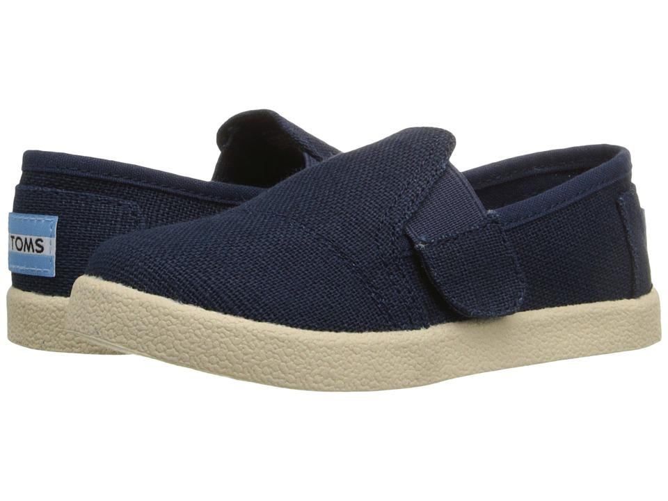 TOMS Kids Avalon Slip On Infant/Toddler/Little Kid Navy Burlap Kids Shoes