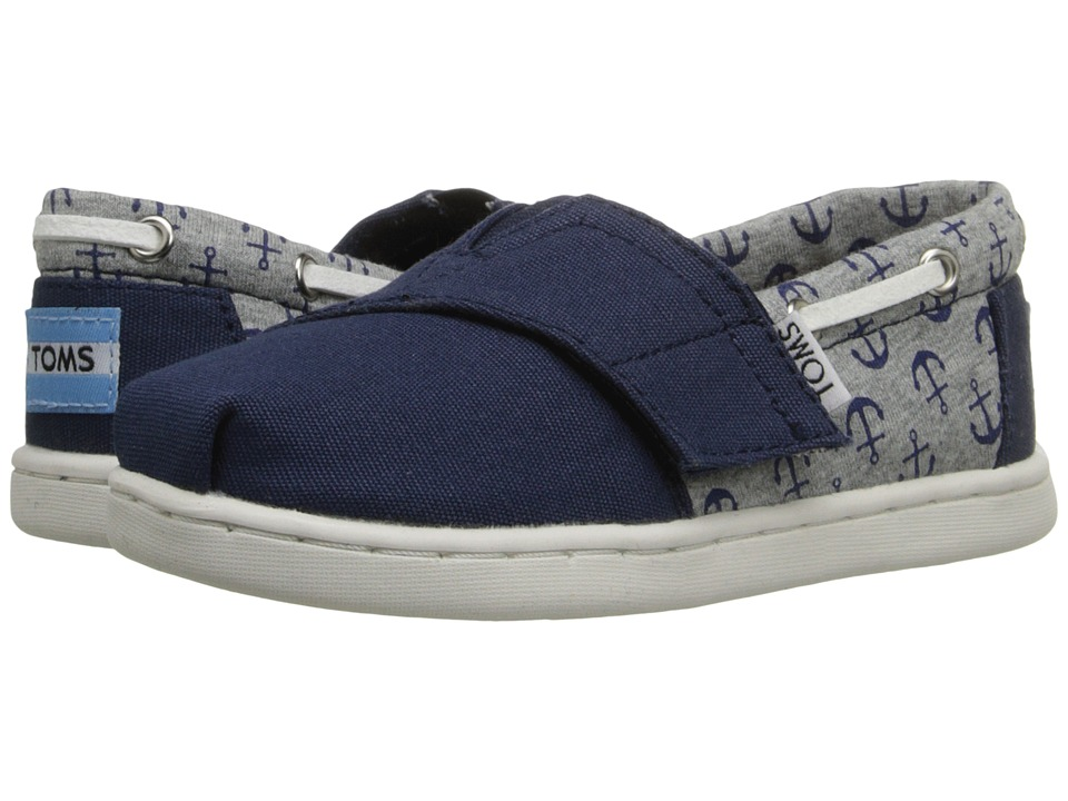 TOMS Kids Bimini Espadrille Infant/Toddler/Little Kid Navy Canvas/Jersey Anchors Kids Shoes