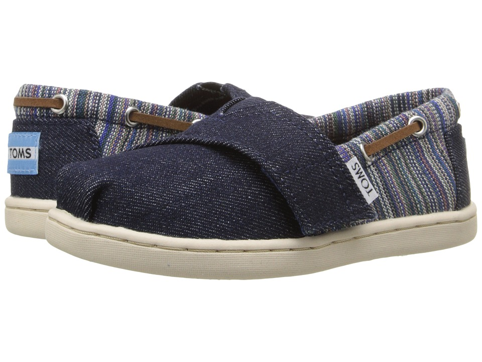 TOMS Kids Bimini Espadrille Infant/Toddler/Little Kid Blue Denim Geo Textile Kids Shoes