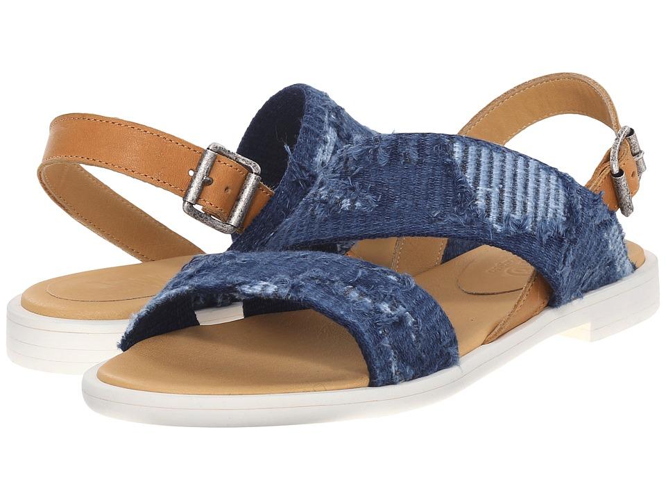 MM6 Maison Margiela Frayed Denim Flat Sandal Blue Denim/Tan Womens Shoes