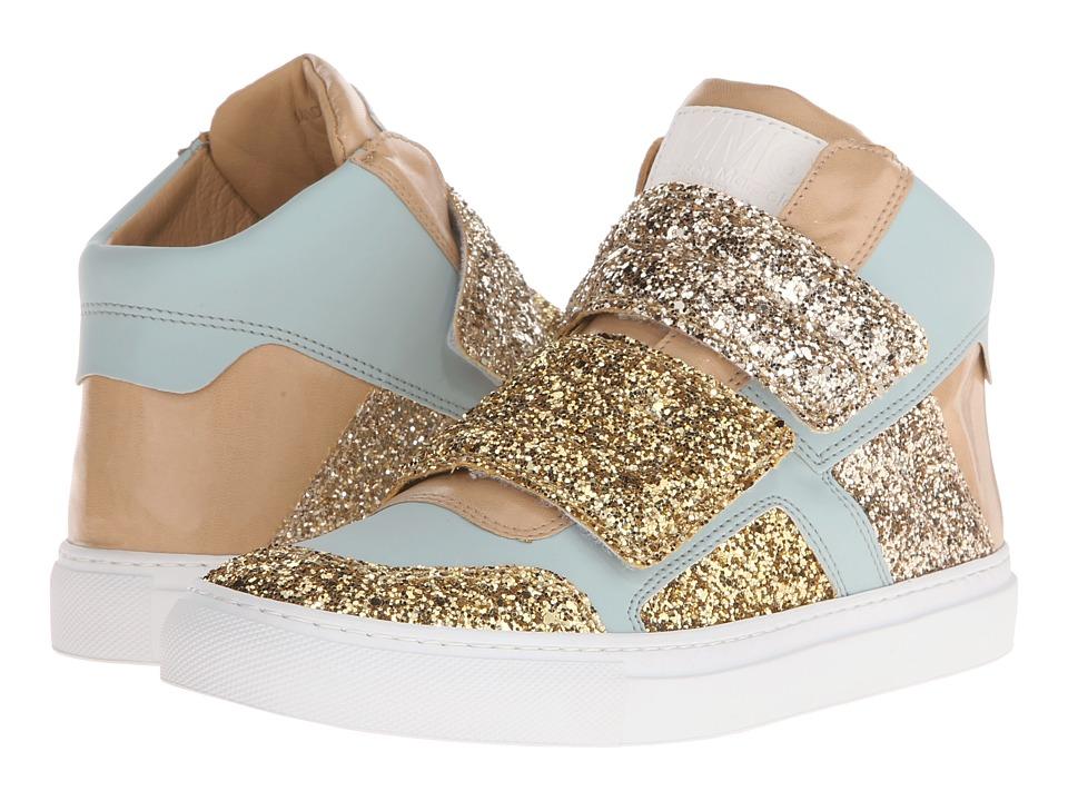 MM6 Maison Margiela Glitter Strap High Top Gold/Light Blue/Sand Glitter Womens Shoes