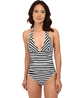 Tommy Bahama - Black & White Stripes Mitered Halter Cup 1 Piece
