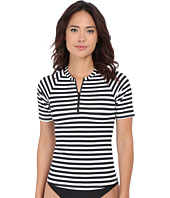 Tommy Bahama - Black & White Stripes Short Sleeve Half Zip Rashguard