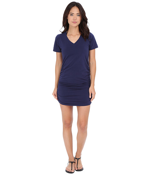 Tommy Bahama - Knit Chiffon Shirred T-Shirt Dress Cover-Up (Mare Navy) Women's Swimwear
