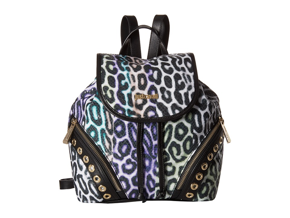 Just Cavalli Shark Baiadera Printed Canvas Multi Backpack Bags