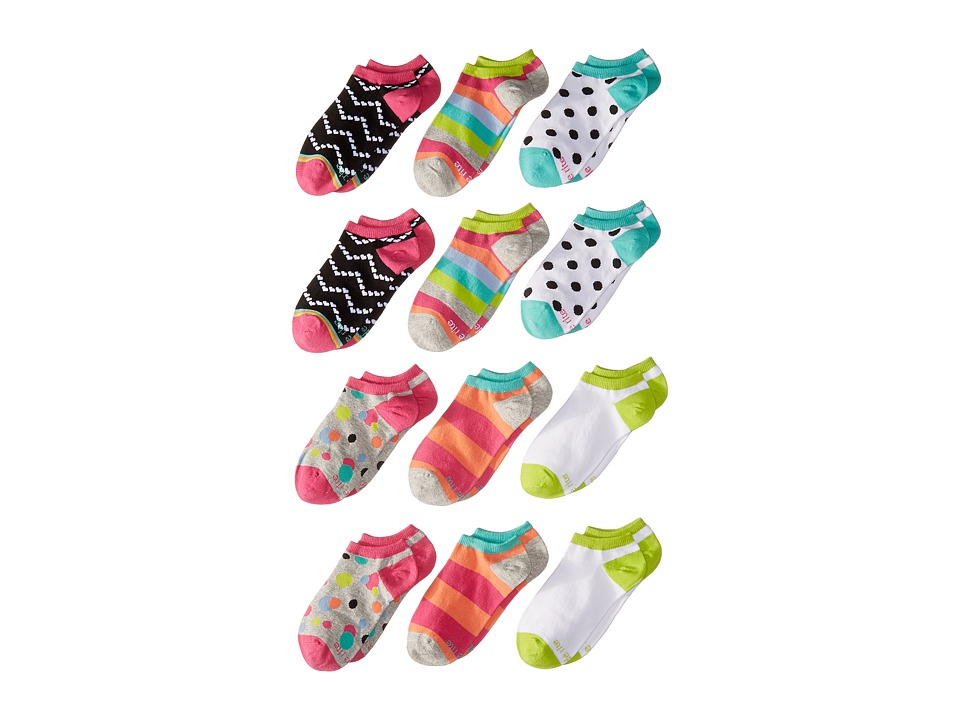 Stride Rite Carli 12 Pack Colorful Dots No Show Infant/Toddler/Little Kid/Big Kid Fuchsia Girls Shoes