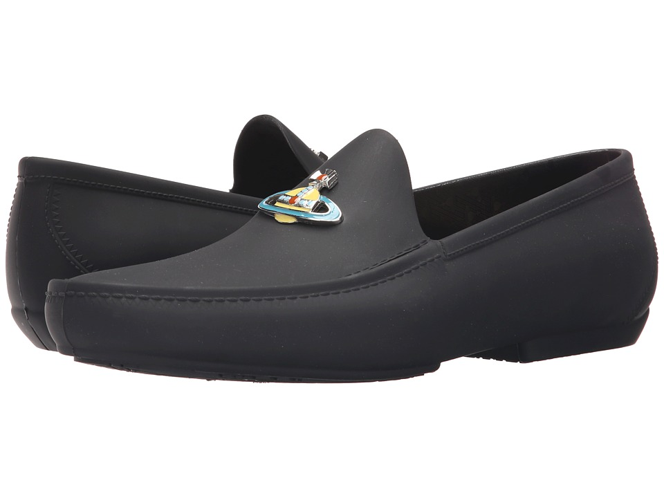 Vivienne Westwood Orb Enamelled Moccasin Black Mens Slip on Shoes
