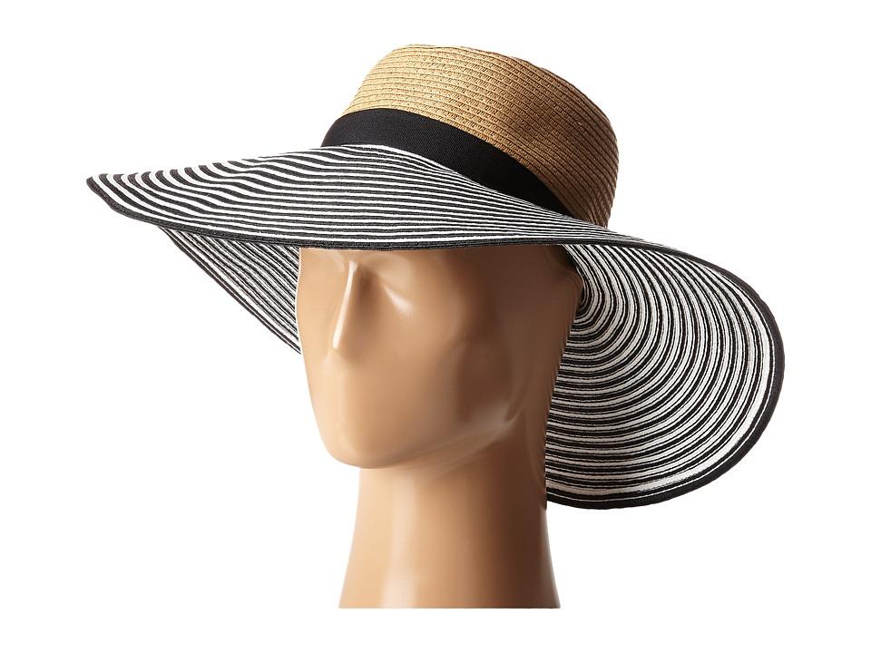 BCBGMAXAZRIA Vintage Stripe Panama Natural Traditional Hats