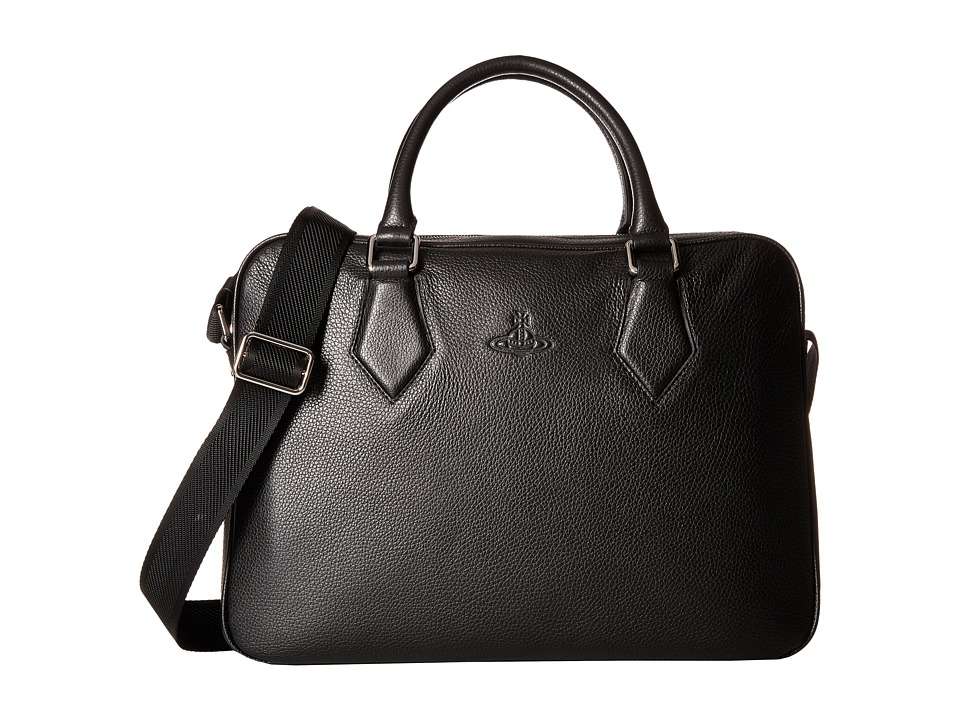 Vivienne Westwood - Leather Briefcase (Black) Briefcase Bags
