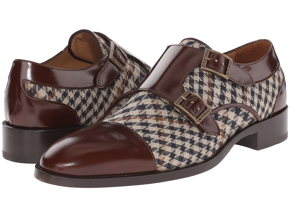 Etro - Houndstooth and Leather Double Monk BrownHoundstooth Mens Monkstrap Shoes $975.00 AT vintagedancer.com