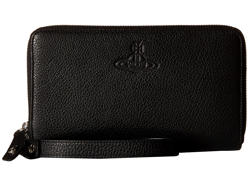 Vivienne Westwood - Leather Zip Around Pouch (Black) Travel Pouch