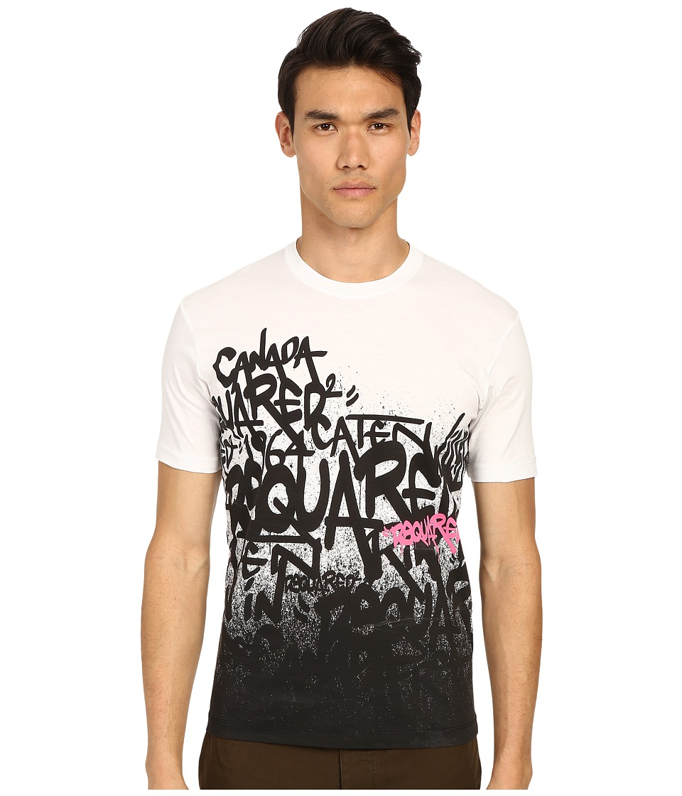 DSQUARED2 - All Over DS2 Graffiti T-Shirt (White) Men
