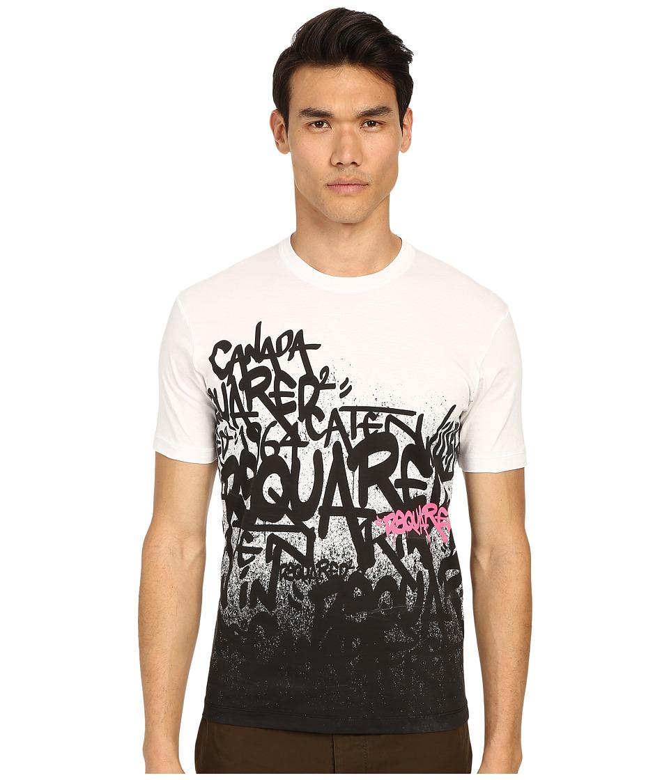 DSQUARED2 All Over DS2 Graffiti T Shirt White Mens T Shirt