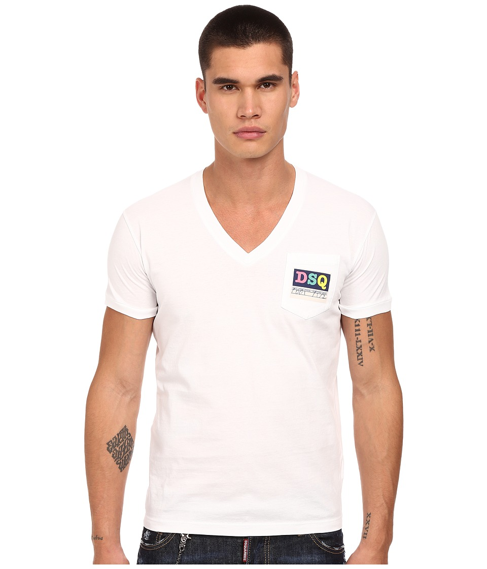 DSQUARED2 - Logo Pocket V-Neck T-Shirt (White) Men
