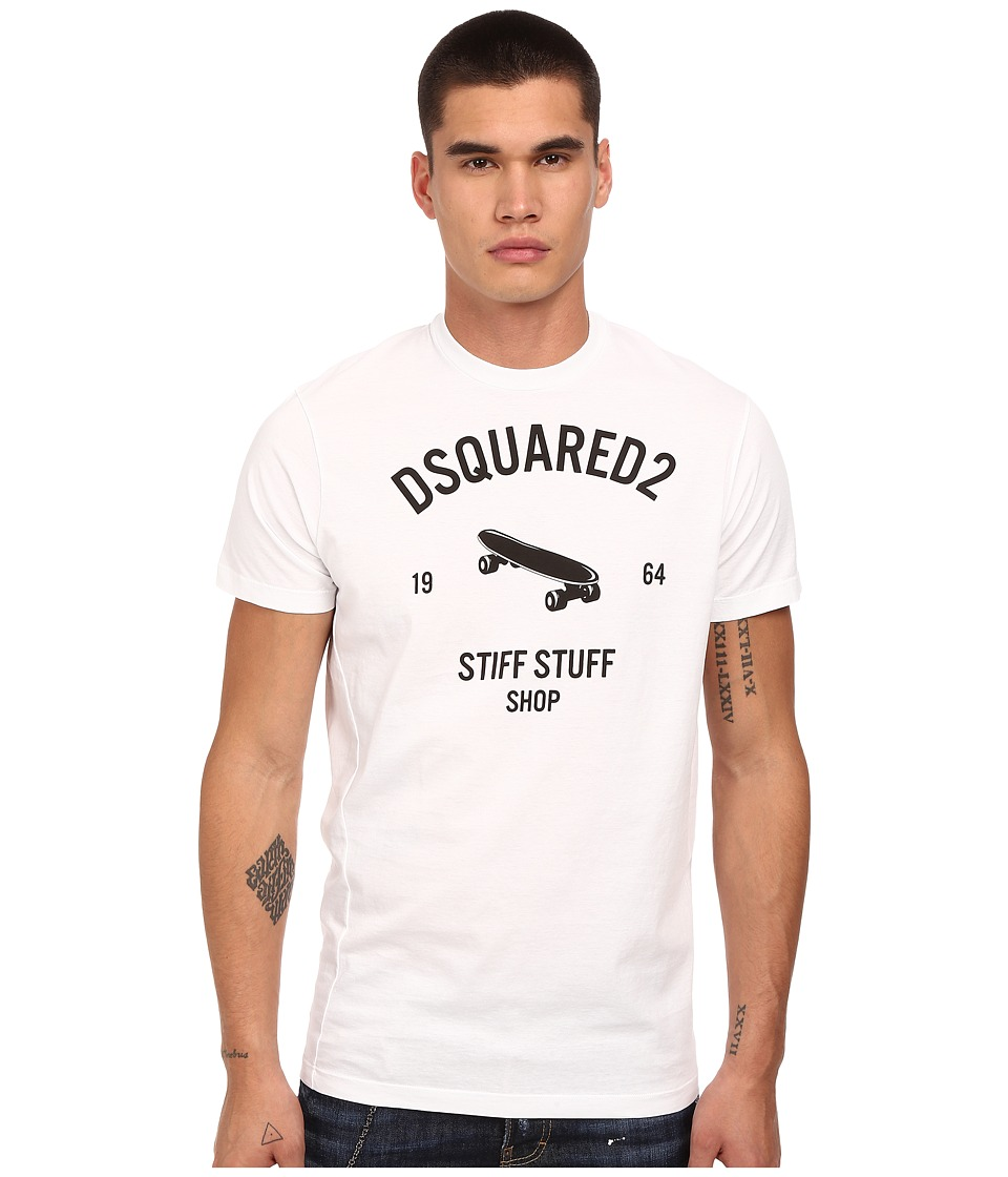 DSQUARED2 - Stiff Stuff Twisted Fit T-Shirt (White) Men