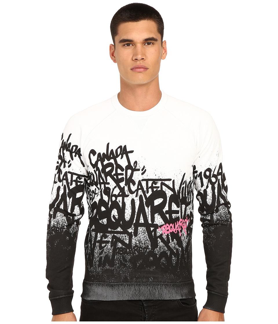 DSQUARED2 All Over DS2 Graffiti Sweatshirt White Mens Sweatshirt