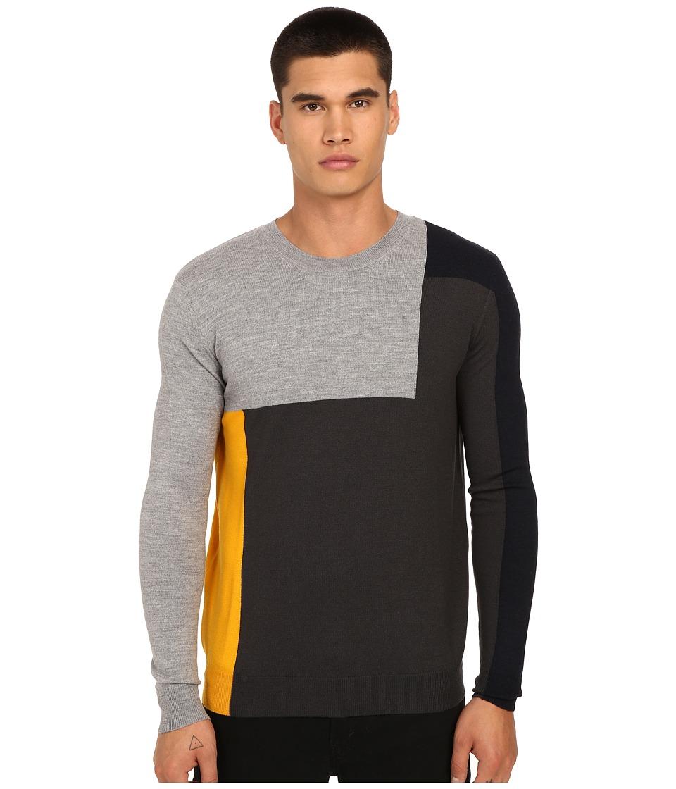 McQ Color Block Crew Neck Tee Amber Color Block Mens T Shirt