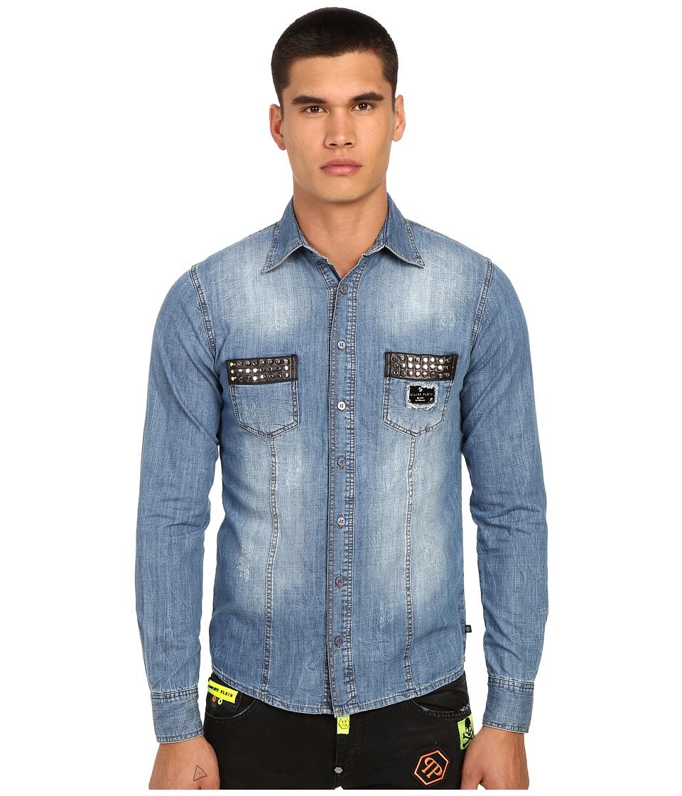Philipp Plein Follow Denim Shirt with Studded Pockets West Hollywood Blue Mens Clothing