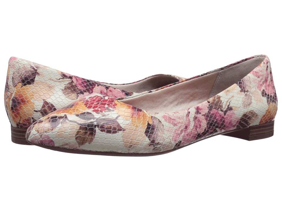 Rockport Total Motion Adelyn Ballet Pink Floral Leather Womens Dress Flat Shoes