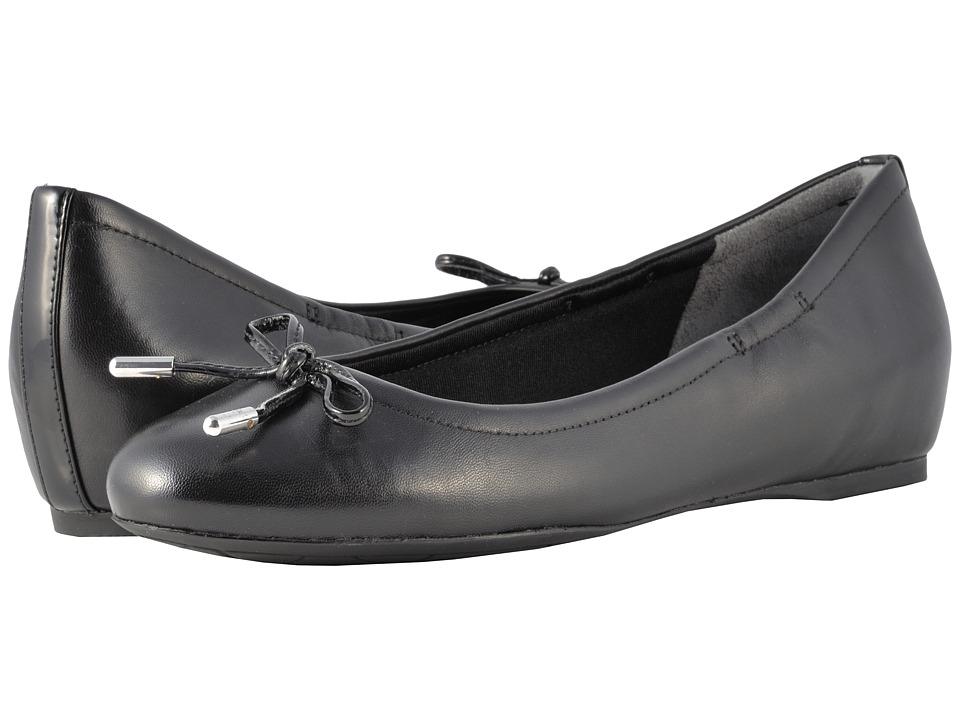 Rockport - Total Motion Hidden Wedge Tied Ballet (Black Nappa) Womens Flat Shoes