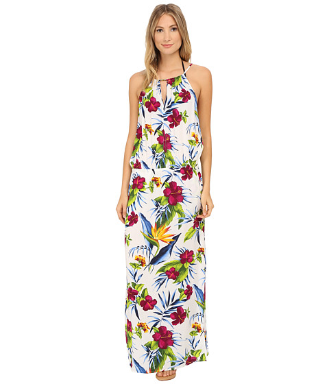 Tommy Bahama - Happy Hibiscus High Neck Long Dress Cover-Up (White) Women's Swimwear
