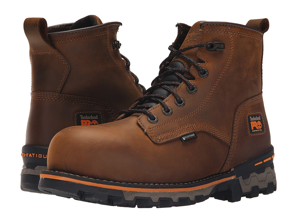 Timberland PRO - 6 Boondock Composite Safety Toe Waterproof Boot (Brown Distressed Leather) Mens Work Lace-up Boots