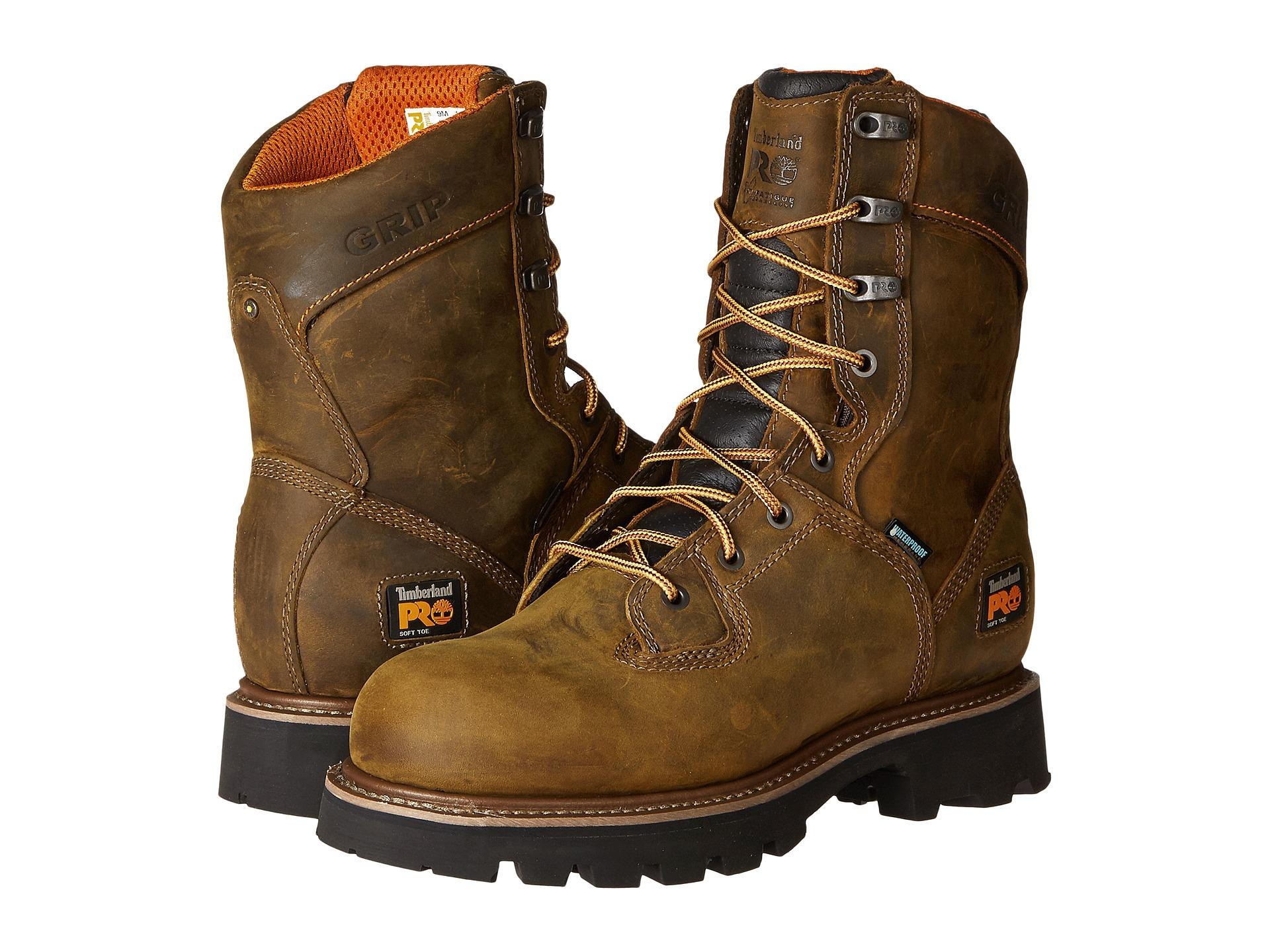timberland pro 8 quot crosscut soft toe waterproof boot brown