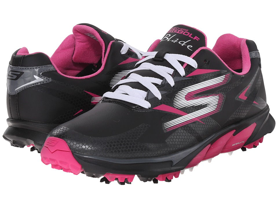 SKECHERS Performance Go Golf Blade Black/Pink Womens Walking Shoes