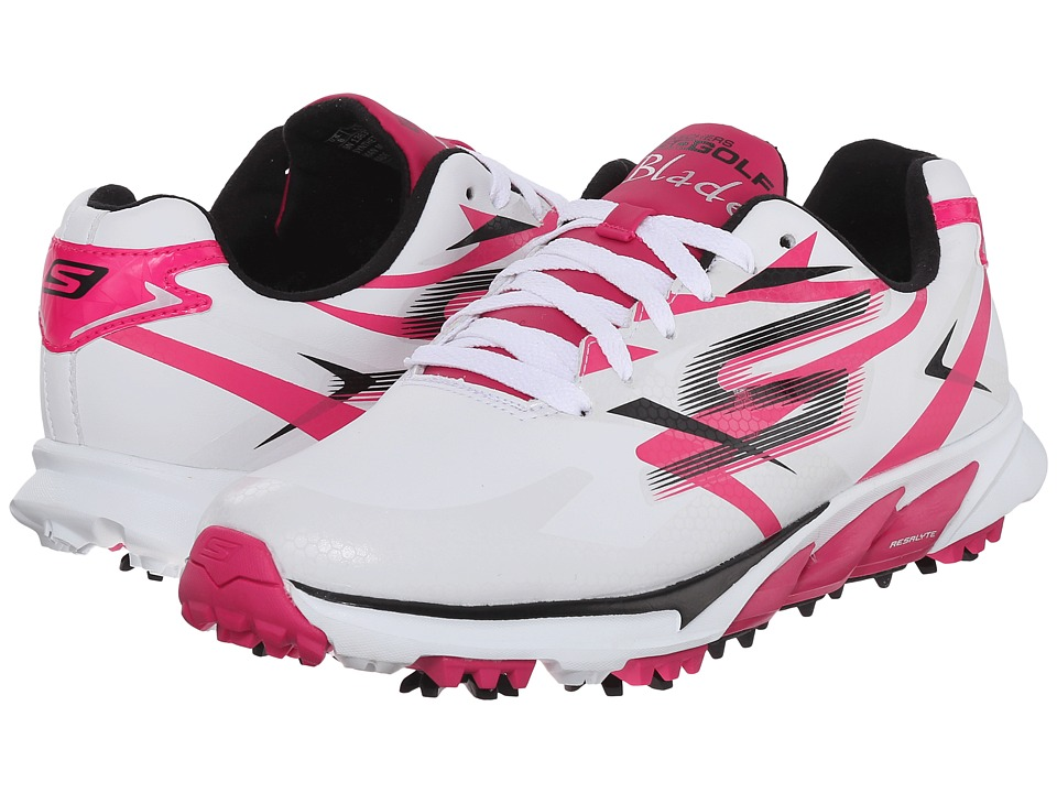 SKECHERS Performance Go Golf Blade White/Pink Womens Walking Shoes