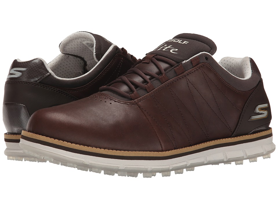 SKECHERS Performance Go Golf Tour Elite Brown Mens Golf Shoes