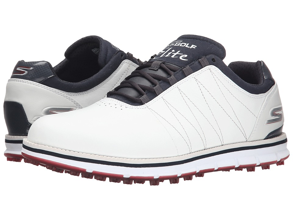 SKECHERS Performance Go Golf Tour Elite White/Navy/Red Mens Golf Shoes