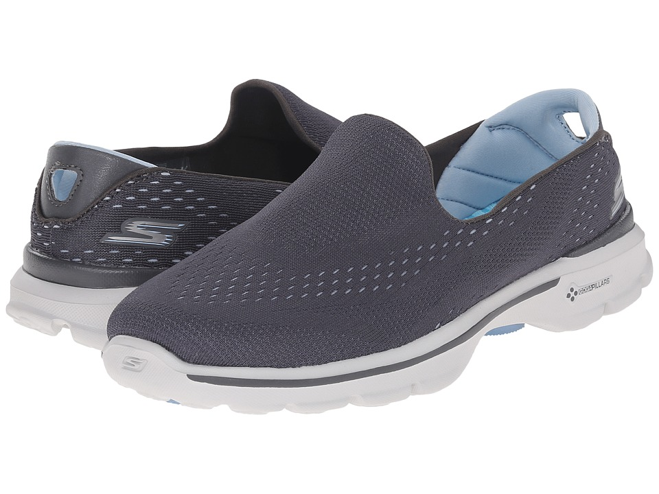 SKECHERS Performance Go Walk 3 Dominate Charcoal/Blue Womens Walking Shoes